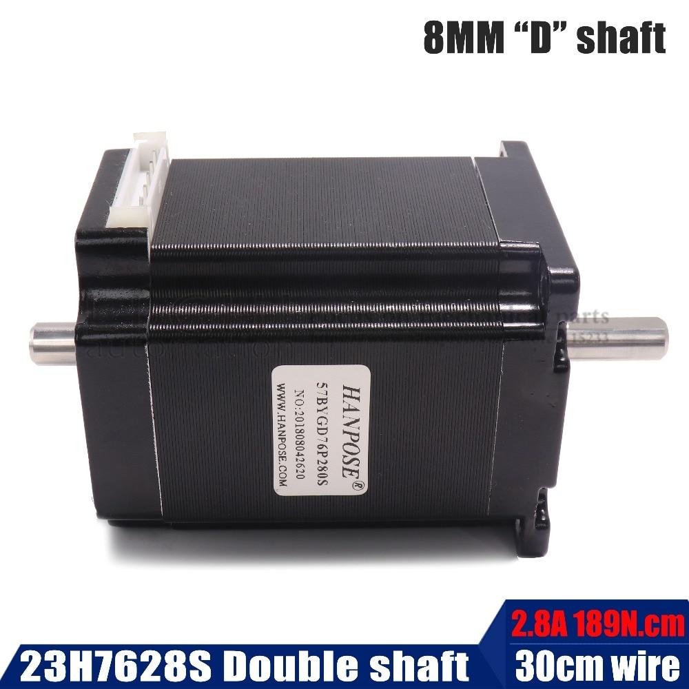 Envío Gratis Motor paso a paso Nema 23 Motor de eje doble 76mm 2.8A 189N.cm 23hs7628S para corte por Plasma de espuma de molienda láser CNC