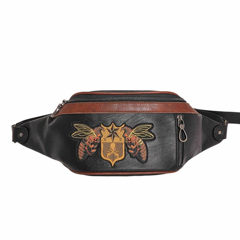 2019 New Embroidered Waist Bag For Women &Men Brand PU Lady Belt Fanny Pack Bohemian Travel Chest Bag Trend Banana Shoulder Bags