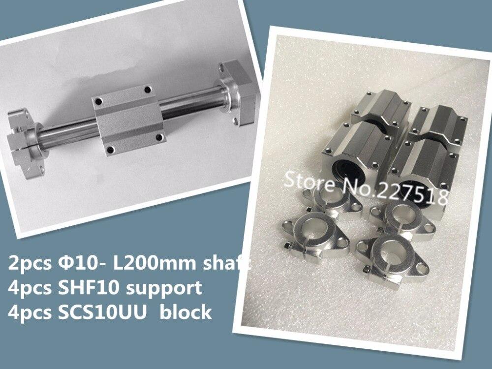 2 piezas 10mm-L200mm lineal redondo + 4 piezas SHF10 soporte del eje de + 4 piezas SCS10UU bloque bering