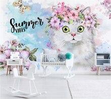 Beibehang-papier peint personnalisé   3d peintures murales, décoration nordique minimaliste chaton fleur, pour chambre denfants, papier peint de fond