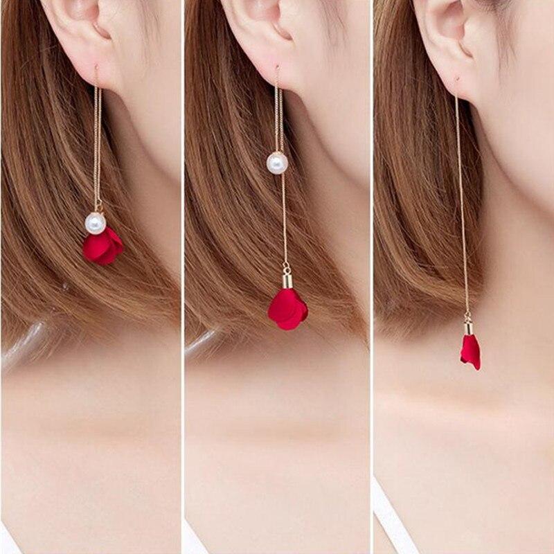 Nuovo 8 Colori Del Fiore Lungo Nappa Orecchini per Le Donne di Modo di Imitazione Orecchini di Perle Orecchio Linea Elegante di Cerimonia Nuziale Del Partito Dei Monili del Regalo