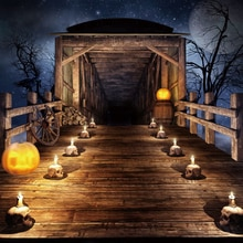 Laeacco Halloween Kulissen Alten Holz Rad Haus Schädel Kerze Kürbis Beten Party Fotografie Hintergrund Photo Foto Studio