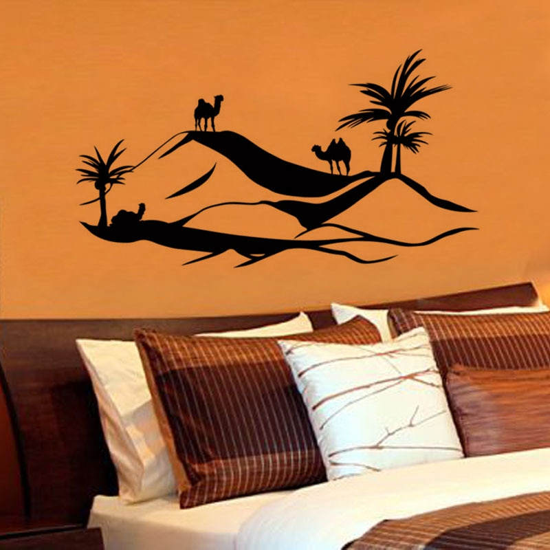 ZOOYOO Scenry Wall Sticker Large Size Desert Camel Wall Decal Removable Home Decor Living Room Bedroom Wall Art Murals