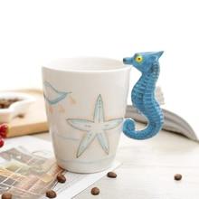 New Coffee Mugs Tea Cups Ceramic Mug Hand-painted Animal Mug Hippocampal Penguin Dolphins Octopus Seahorse Shaped Drinkware Gift