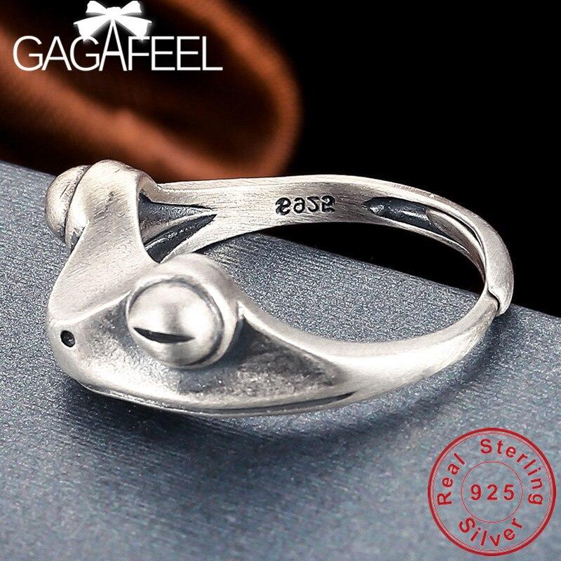 Anillos de rana de plata de ley GAGAFEEL S925, joyería fina con anillo abierto para mujer, envío directo de alta calidad