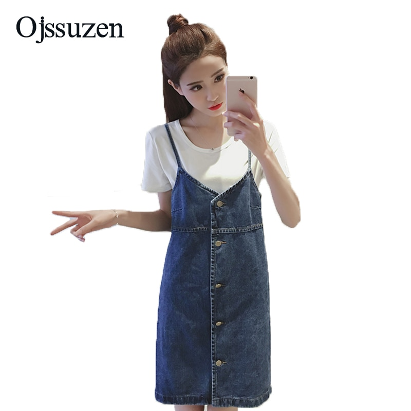 Mode-Taste Frauen Denim Kleid Overalls Elegante Susperders Overalls Weibliche EINE Linie Jeans Sommerkleid Für Damen Blau Schwarz