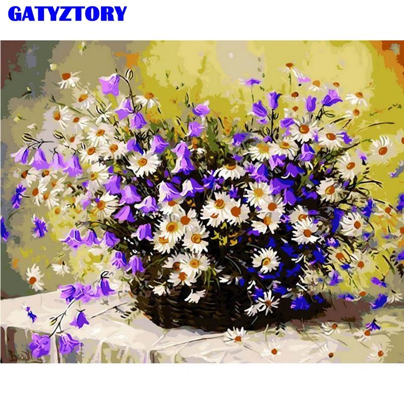 Бескаркасные цветы, сделай сам, цифровой набор для рисования по номерам, рисование по номерам, Современная Настенная картина для домашнего ...