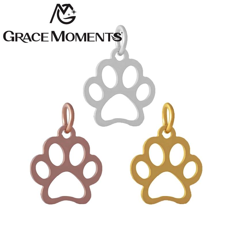 5 pçs/lote graça momentos acessórios de jóias cortar animal pata charme com anel rachado diy pingente charme fazer pulseiras tornozeleiras