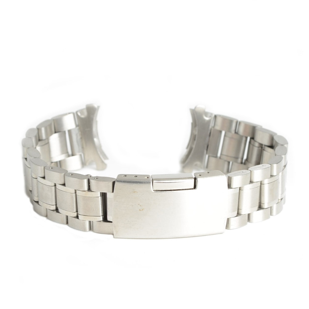 2019 New Men Women 20mm Silver Stainless Steel Dress Watch Band Strap Bracelet Curved End Replacemen