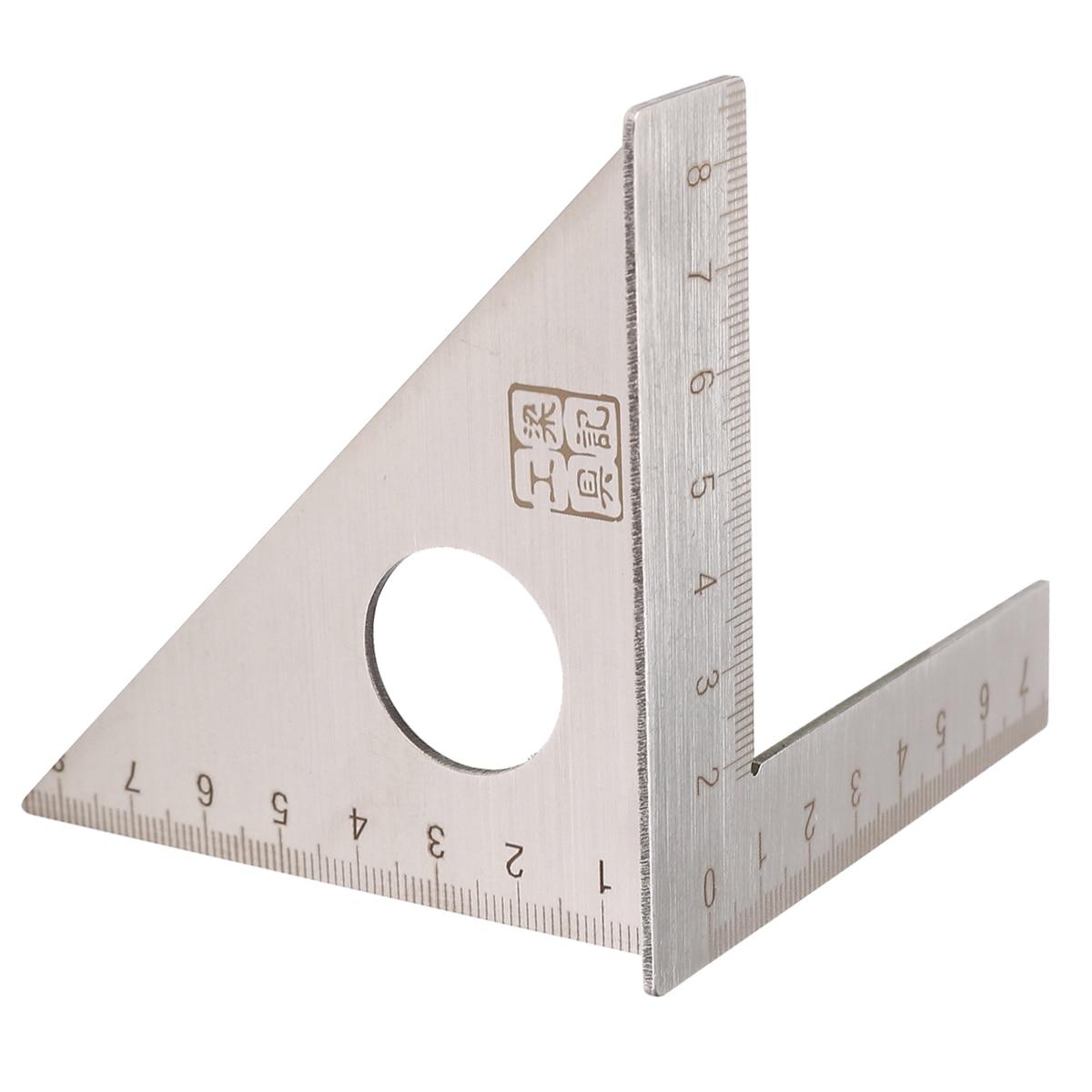Regla para carpintería de acero inoxidable, mitón de diseño cuadrado, viga triangular, calibrador métrico de 45/90 grados, regla para herramienta de carpintero de medición