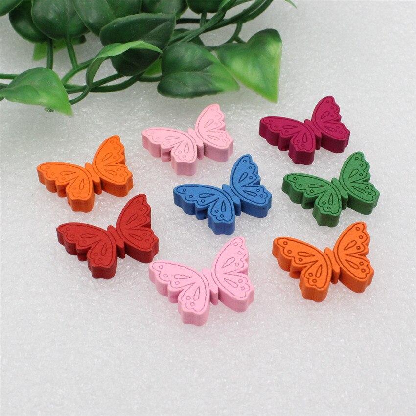 50 teile/los Großhandel Bunte Blei-freies Tier Schmetterling Holz Perlen für Armband/Halskette 22x17mm (k00289)