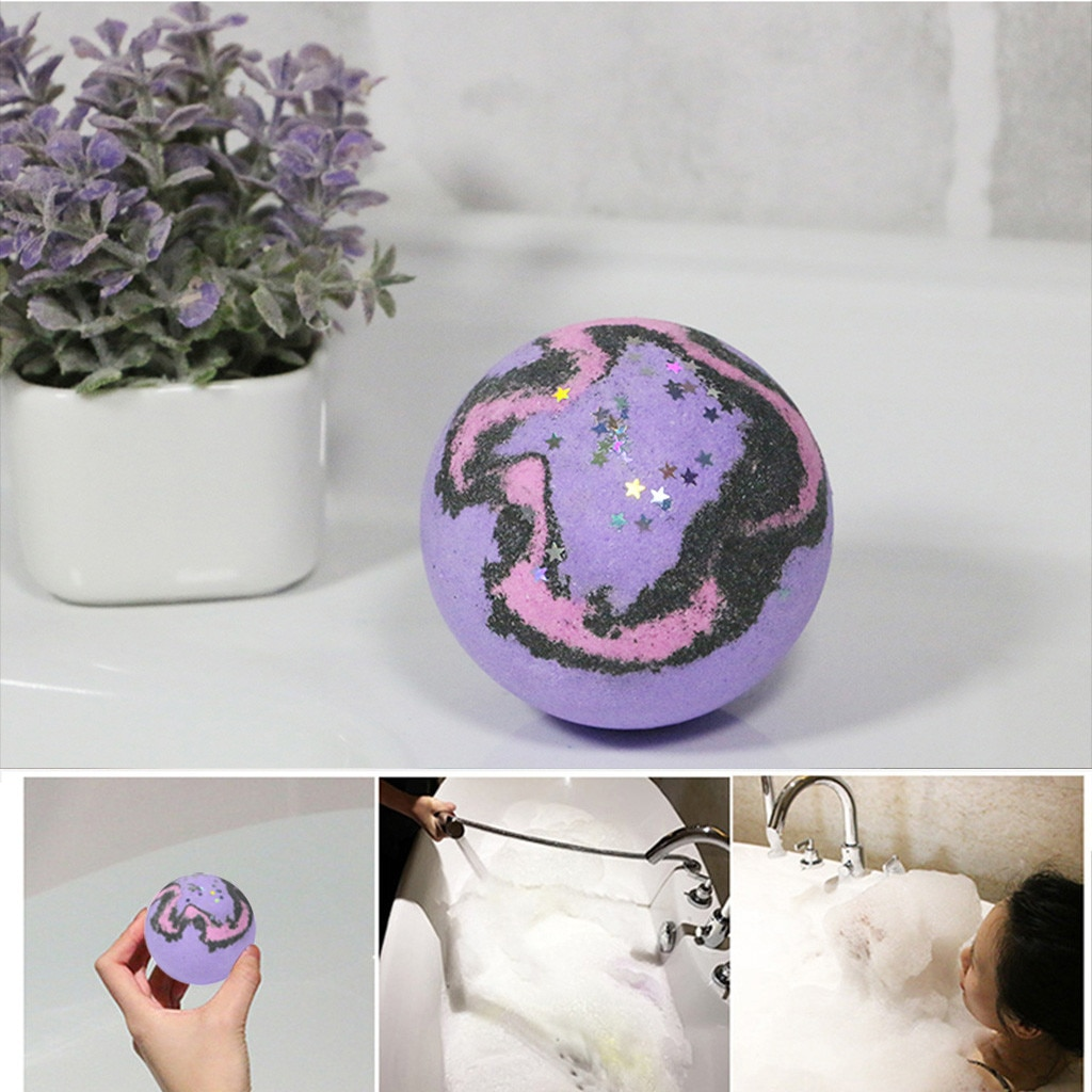 3pcs Purple Charming Aroma Star Series Bathing Bomb Fizzy Spa Ball Moisturizes Bubble Bath Salts Exfoliating Bathroom Clean Soap