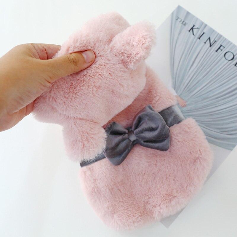 Cão gato casaco macio confortável rosa roupas para cães bowknot outono inverno teddy vestuário cão trela buraco botão encerramento menina cão hoodie