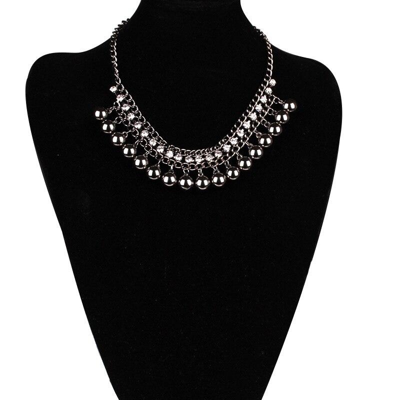 Nueva Llegada De Dos Capas Collar Largo Partido Cristal Negro Collar De Perlas Joyeria De Las Mujeres Collar De La Declaracion