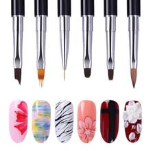 1 Pc noir double-end acrylique peinture brosse Liner stylo dessin UV Gel brosse spatule outil Nail Art outil