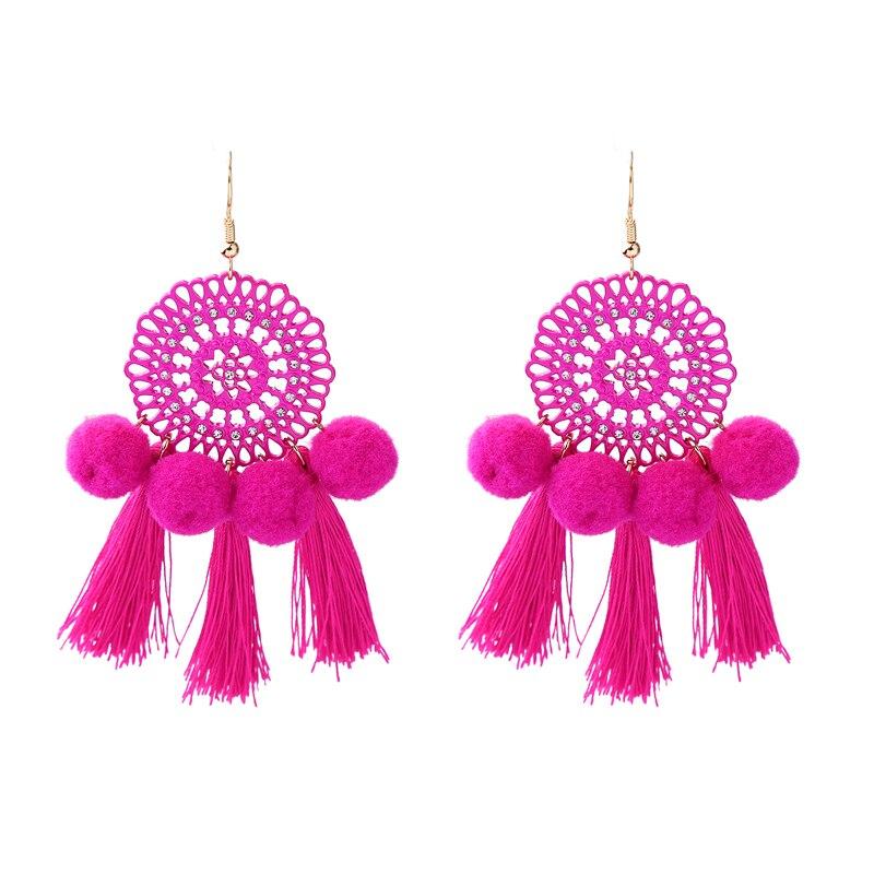 3 kolory czerwony/gorący różowy/niebieski Pompon Tassel kolczyki etniczne filigranowe długie duże artystyczne kolczyki biżuteria kostiumowa