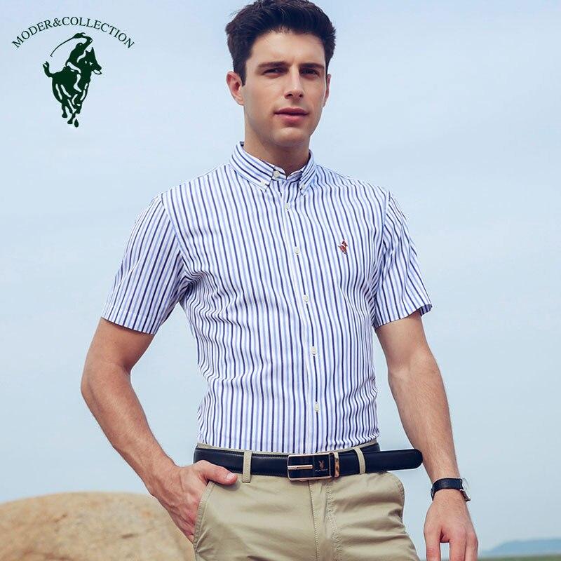 Camisa de manga corta para hombre 100% algodón a rayas vestido camisa Regular fit no Iron camisa verano negocio básico vestido Formal camisas