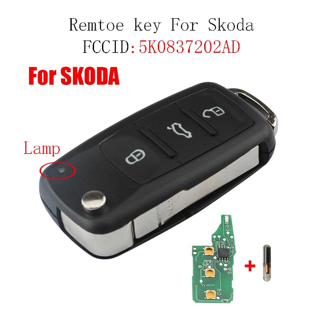 Llave remota de 3 botones para Skoda Fabia superb Roomster 2002-2011 para Skoda 5K0 837 202 AD 202AD Transponder ID48 Chip