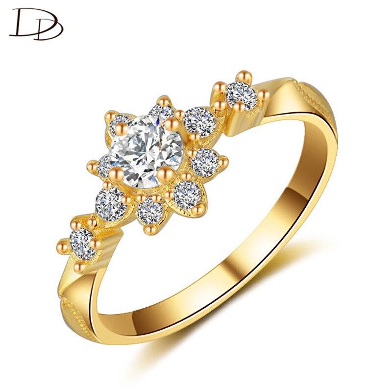 Dodo chique sol flores anel prateado casamento uso diário jóias anéis para feminino aaa zircon cúbico embutir anel jz058