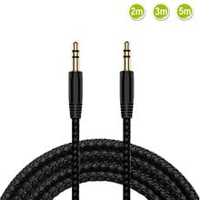 New 2/3/5m Nylon Braid Jack 3.5mm Audio Cable Male Stereo AUX Cable M/M Headphone Cord for iPhone Ca