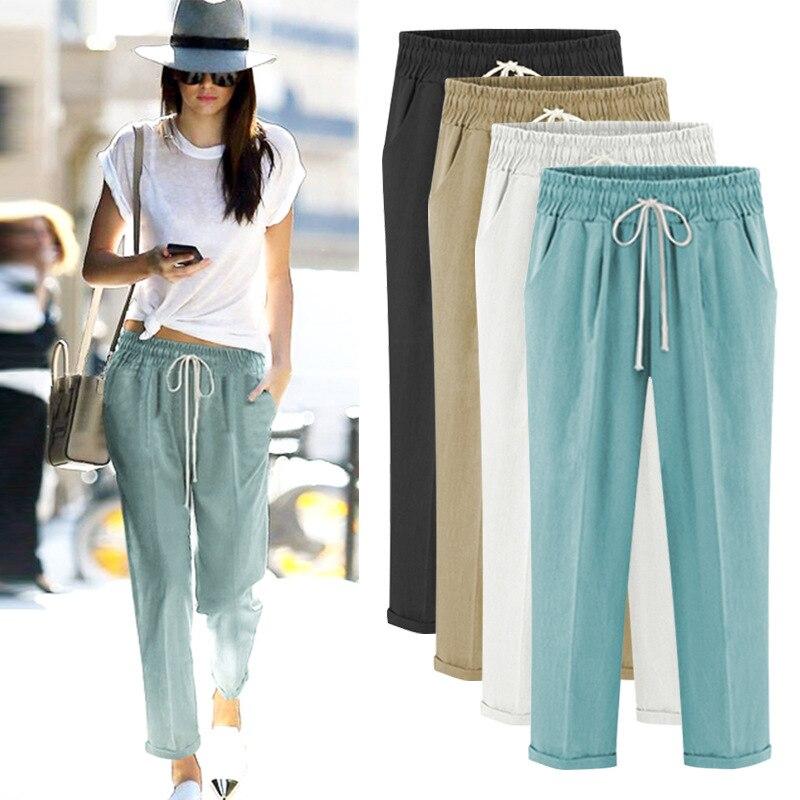 Sarouel femmes été taille haute coton grande taille cheville longueur mince décontracté ample pantalon mince 5XL 6XL