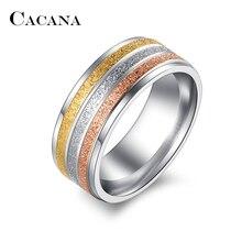 CACANA anneaux en acier inoxydable pour femmes trois couleurs lignes à la mode bague de mariage femmes bijoux de fête en gros R104