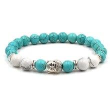 Neue Mode Frau Armbänder 2019 Buddha Kopf Lava Skeleton Türkisen Verkrustete Natürliche Stein Perlen Für Frauen Armbänder Männer Schmuck Geschenke