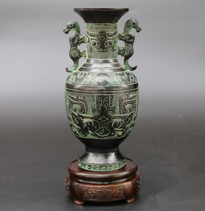 Artículos de decoración de dos tigres, maceta de bronce, florero antiguo, adorno de artesanía contemporáneo para el hogar