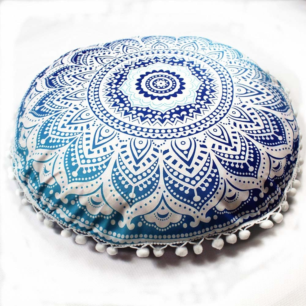 Mandala indio almohadas redondas bohemias hogar cojín funda cojines almohadones decorativos para sofá asiento cojín Cover27