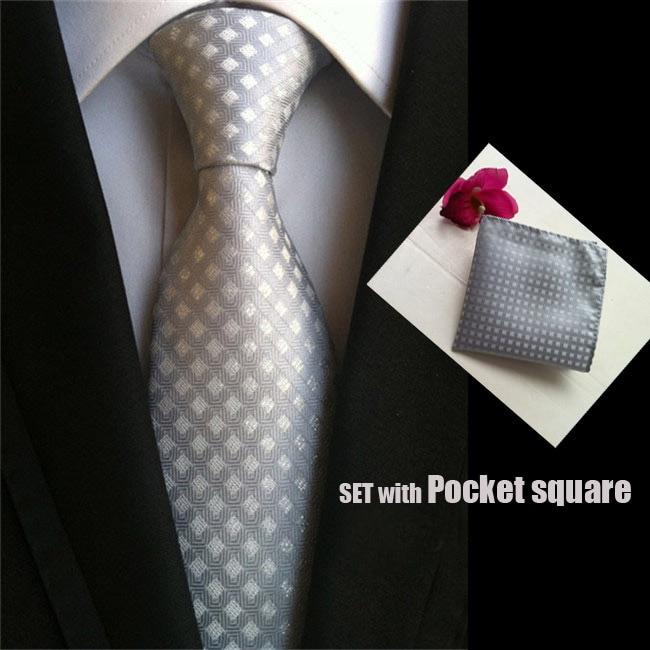 Fashion jacquard woven tie 8cm formal necktie silver gray with checkers grids Groom groomsman tie