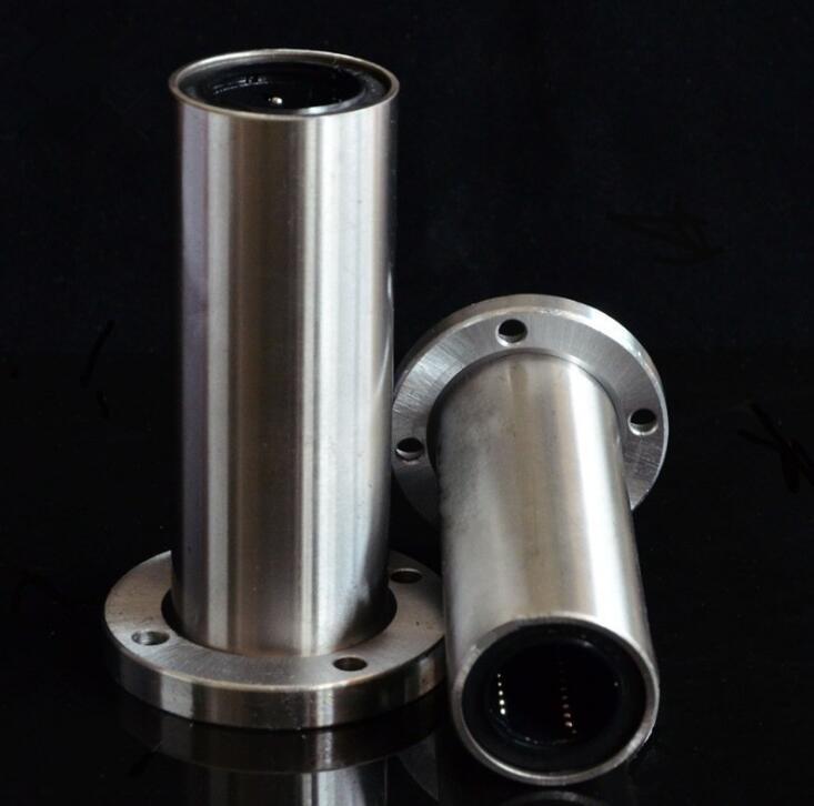 50 pçs/lote LMF12LUU 12mm 12*21*57mm longo tipo rodada Flange rolamentos de esferas linear motion bucha 12x21x57mm
