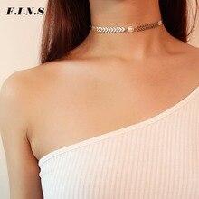 F.I.N.S Simple collier chaînes de femmes Triangle rond losange or/argent couleur femme collier mode femmes Chokers bijoux