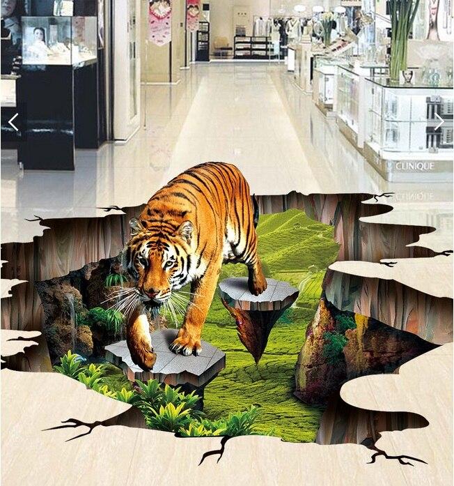 Foto personalizada 3d suelo mural autoadherente pegatina de pared 3 d Tigre al aire libre para dibujar pintura 3d pared habitación murales papel tapiz