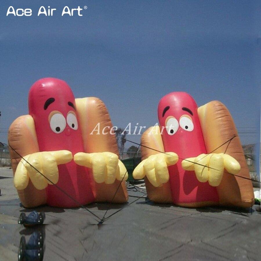 Publicidade Inflável gigante ao ar livre comida de cachorro quente com ventilador de ar para a abertura da loja