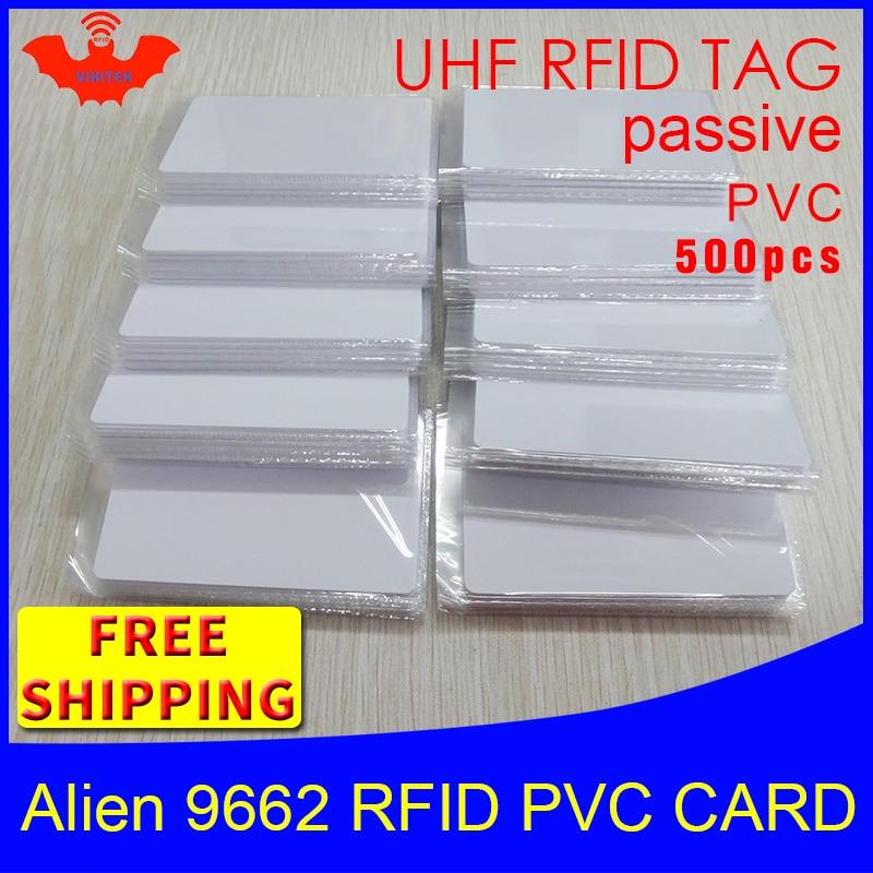 Etiqueta RFID UHF TARJETA DE PVC alienígena 9662, 915 mhz, 868 mhz, 860-960MHZ Higgs3 EPC 6C 500 Uds envío gratis inteligente de largo alcance RFID pasivo etiqueta