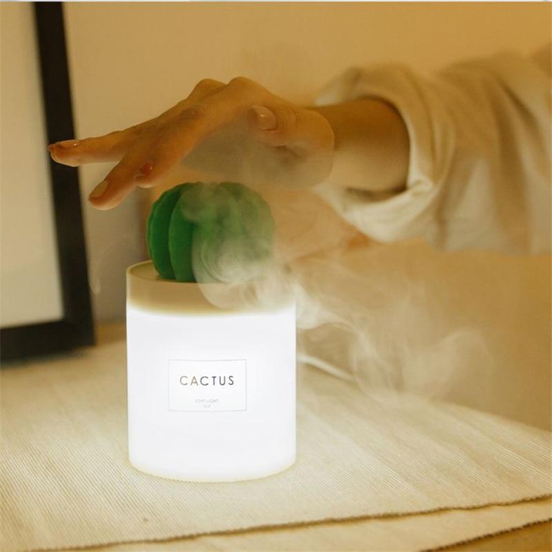 RUINUOKAI Cactus Ultrasonic Humidifier Aromatherapy Mist Maker Car Air Humidifier Purifier Usb Essential Oil Aroma Diffuser 5v