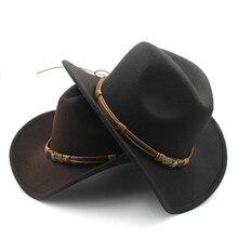 Moda damska męska wełna Hollow Western kapelusz kowbojski z słońce bóg pas Cowgirl Jazz Toca Sombrero ojciec chrzestny czapka rozmiar 56-58CM
