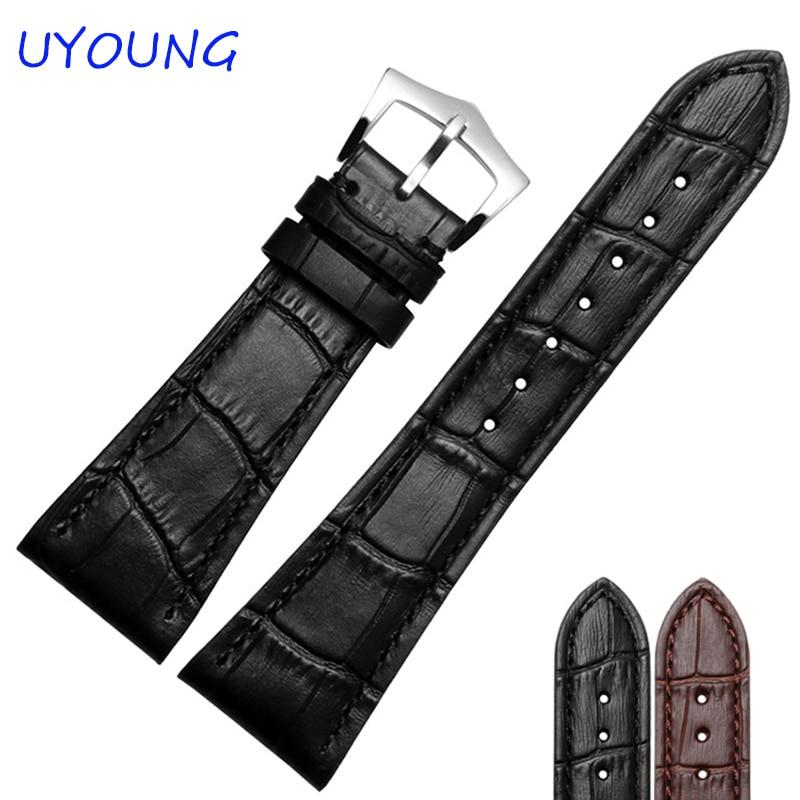 Ремешок для часов из натуральной кожи, 25 мм, черный, коричневый, серебристый цвета, с пряжкой, мужские аксессуары