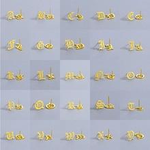 Cxwind A~Z 26 English Letters Stud Earrings For Women Fashion Stainless Steel Arabic Earring Jewelry