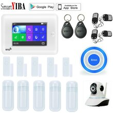 "SmartYIBA 4.3"" TFT Touch Panel 3G Wireless Alarm System Security Home App Remote Residential Burglar Alarm GPRS SMS Amazon Alexa"
