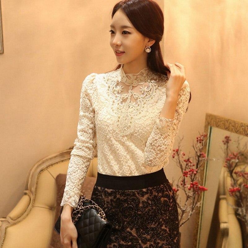 2018 Модные осенние женские кружевные блузки, корейские облегающие Топы с длинным рукавом, рубашки больших размеров, женские блузки OL