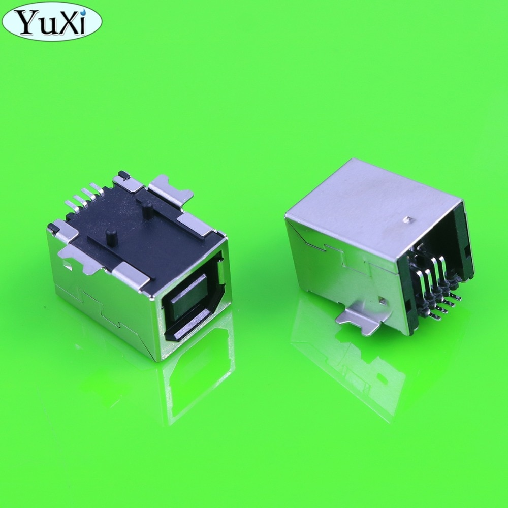 YuXi USB Type B Female Solder Jacks Connector PCB Socket USB-B type 180 Degrees 4pins SMD USB-BF For fax communication interface