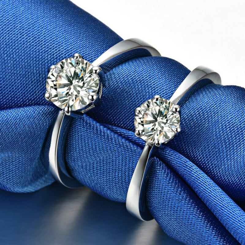 Anillos De Compromiso clásicos de seis garras de 3 quilates para mujer, joyería de boda de lujo AAAAA de alta calidad, piedra NSCD, Color oro blanco