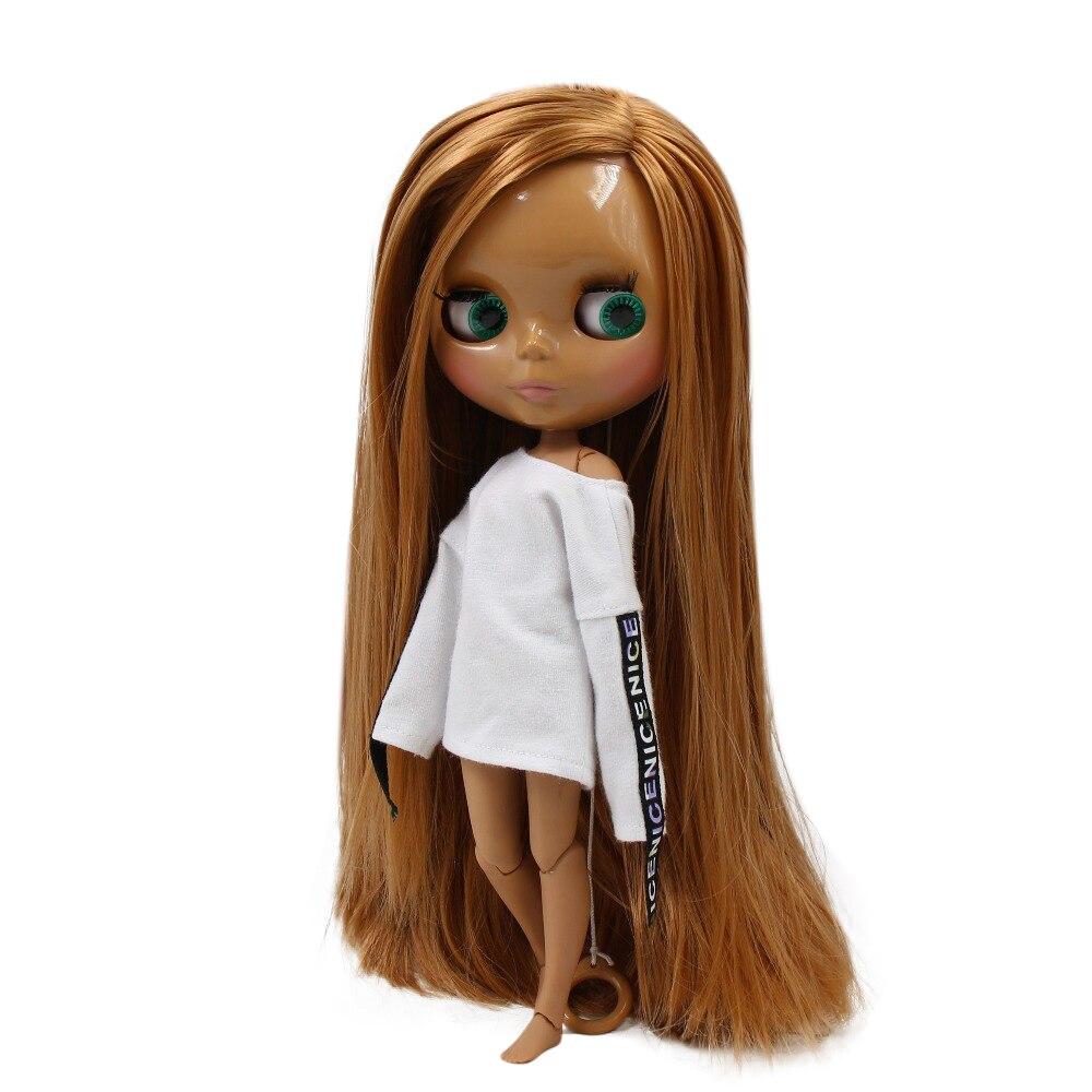 , Ale lalki blyth wspólne body ciemna skóra proste złote włosy z grzywką 30cm 1/6 BL0545, prezent dla dziewczyny