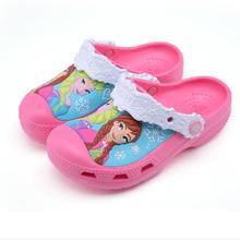 Baby Girl Cartoon Elsa Princess Slippers for Children New Girls Beach Anti-slip Hole Shoes Child Cute Antiskid Garden Slippers