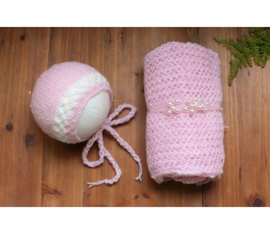 Newborn Girl Bonnet Wrap Set Headband Baby Girl Clothes Newborn Boy Swaddle Blanket Stretch Wrap Hair Tieback Mohair layer