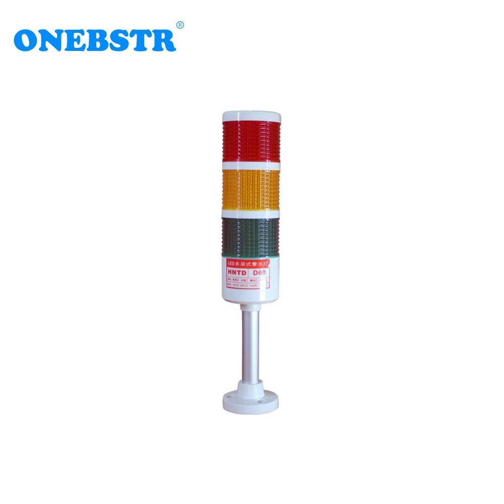 HNTD 24V LED Warning signal light Semaphores Indicator Lamp TD60 Rod type often bright 3 Color CNC Machine tools Free shipping