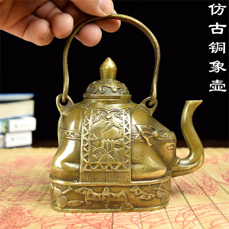 Tetera de cobre, elefante, elefante de la suerte, tetera antigua, artesanías antiguas, adornos propicios para el hogar