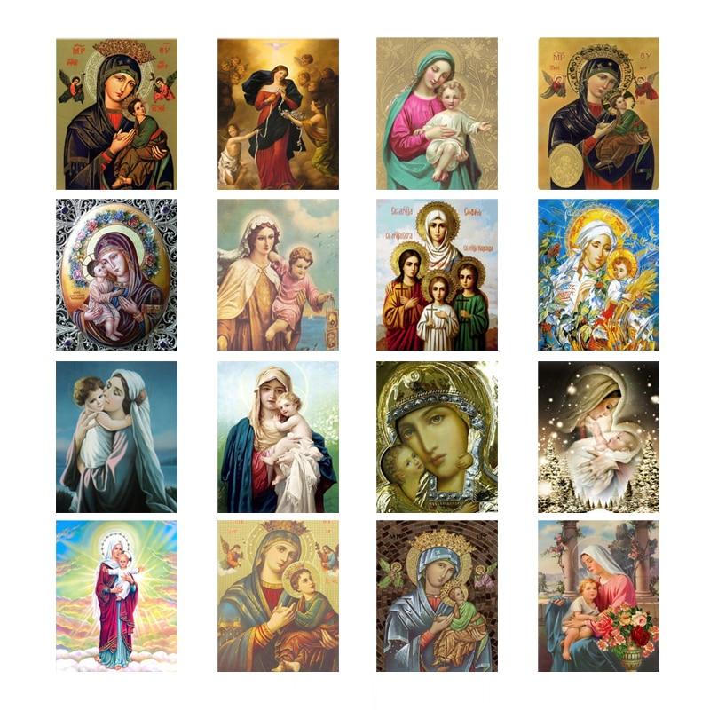 5D Full Area Highlight Painting Needlework Diy Square Resin Kit Diamond Cross Stitch Embroidery Madonna Child Mosaic D1728