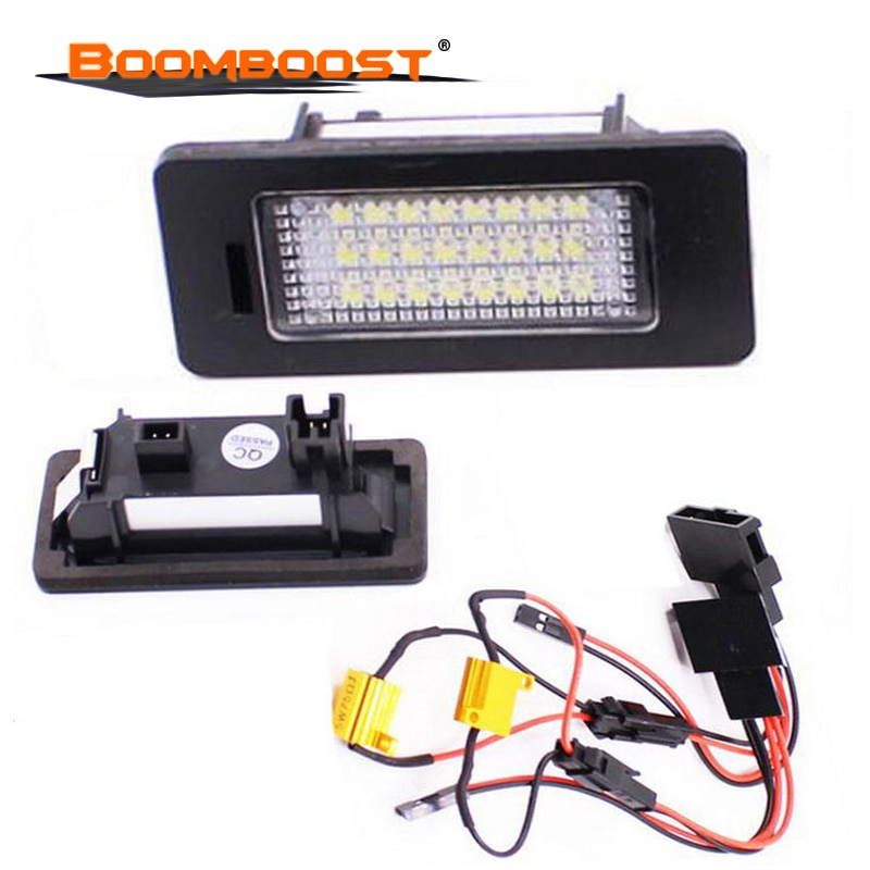 2 uds las luces de la matrícula para AUDI A4 S4 A5 S5 Q5 TT TT-RS SMD 3528 para VW PASSAT 5D R36 6000K 24Leds